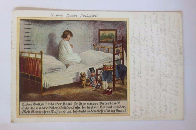 Kinder, Unseres Kindes Nachtgebet, Spielzeug, Teddy, Trommel, 1916 ♥ (52001)
