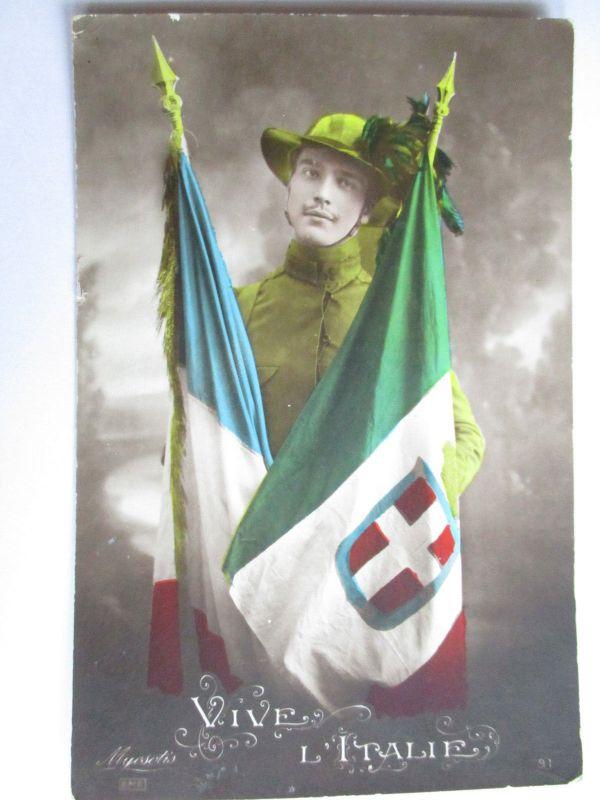 Italien, Bersaglieri, Fahnen Italien-Frankreich (43977)