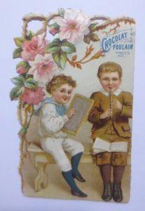 Kaufmannsbilder, Oblaten, Chocolat Poulain, Kinder, Flöte 1900 ♥ (61809)