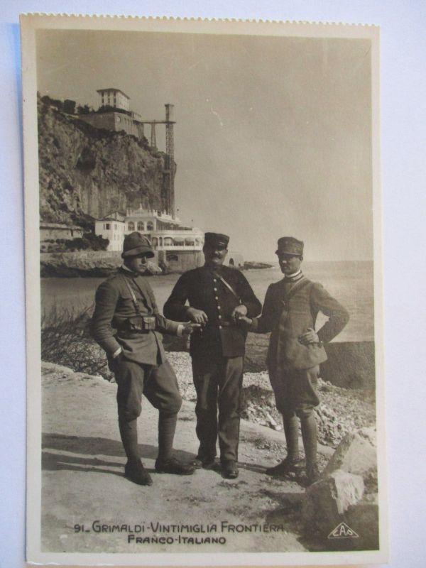 Italien, Soldaten an der Grenze Frankreich-Italien, Fotokarte (43689)