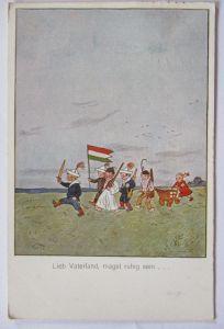 Kinder WW 1, Fahne von Ungarn, Lieb Vaterland magst ruhig sein (43144)