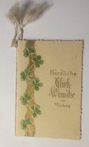 Kleine Klappkarte, Verlobung Kleeblatt Jugendstil,  1900, Prägekarte  ♥ (70631)