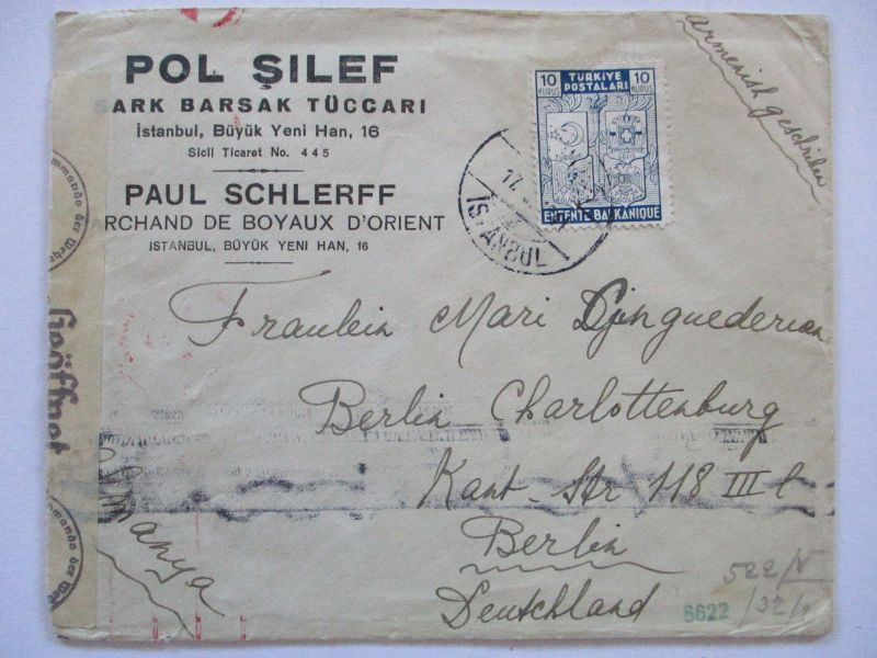 Türkei, Balkanentente Sondermarke Zensurbrief (70623)