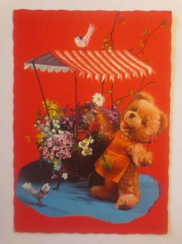 Teddy, Spielzeug, Gärtner, Blumen,  1960 ♥  (26422)