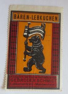 Vignetten, Bären-Lebkuchen Lebkuchenfabrik Mainbernheim Bayern 1960 ♥ (4861)