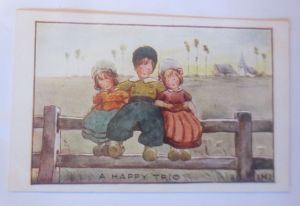 Kinder, Mode, Zaun, Freunde, A Happy Trio, 1909,   IMG ♥ (70587)