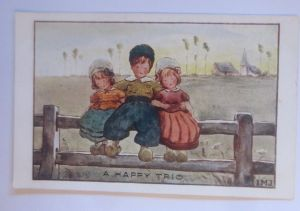 Kinder, Mode, Zaun, Freunde, A Happy Trio,   1910, sig. IMJ  ♥ (70575)