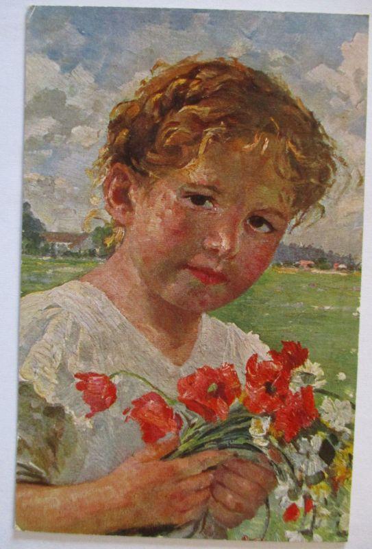 Künstlerkarte Robert Völcker, Kind, Die kleine Blumenfreundin (47172)