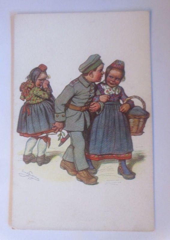 WW1 Kinder, Militär, Hessische Trachten,  1915, signiert ♥ (705561