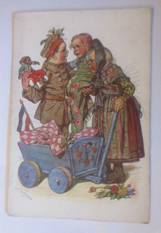 WW1 Kinder, Militär, Hessische Trachten, Puppe, 1915, signiert ♥ (70560)