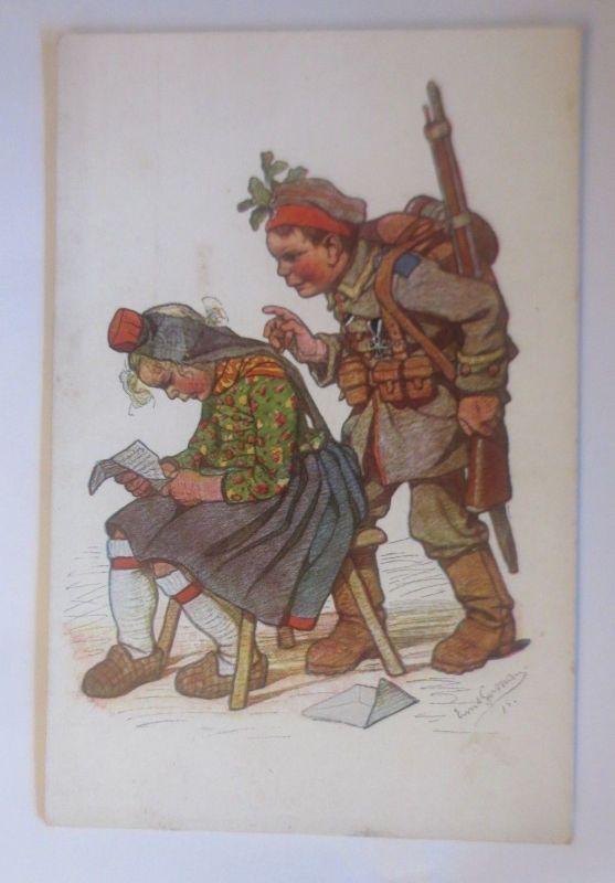 WW1 Kinder, Militär, Hessische Trachten,  1915, signiert ♥ (70558)