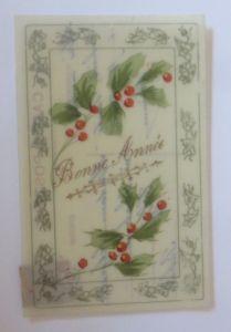 Neujahr, Stechpalmen, Handgemalt,    1909, Kunststoffkarte  ♥ (46473)