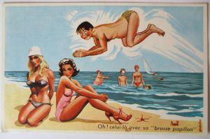 Meer, Strand, Baden, Bademode, Scherzkarte  ca.50er Jahre (49468)
