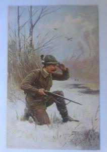 Jagd, Jäger, Flugenten, Winter,  1912, sig. Müller  ♥ (70551)