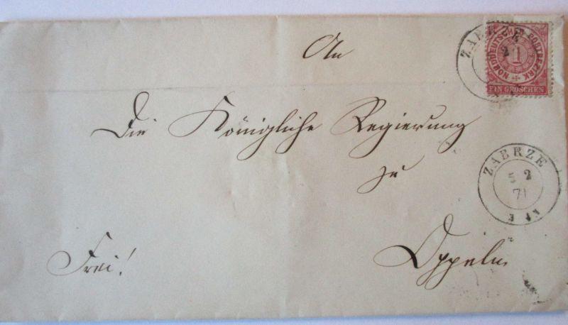 Norddeutscher Bund, gesiegelter Brief 1871 aus Zabrze Schlesien (57065)