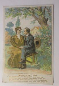 Frauen, Männer, Mode, Liebe, 1902, Prägekarte  ♥ (70671)