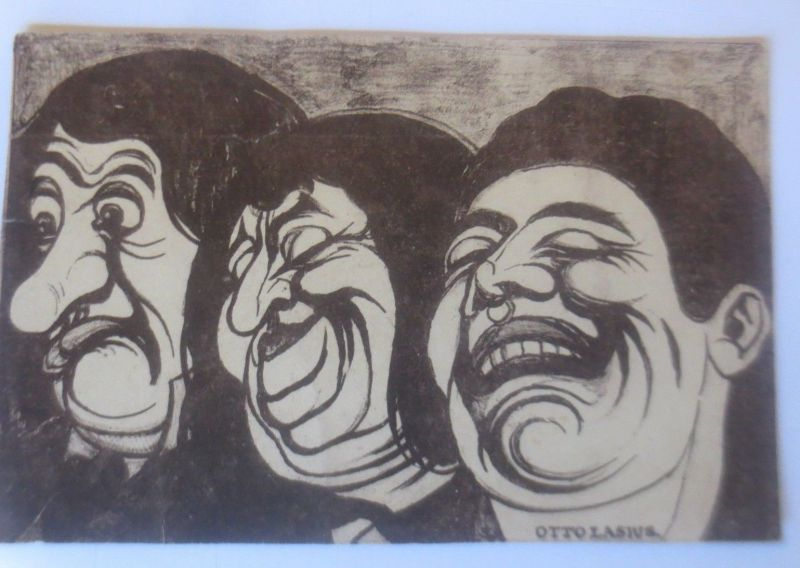 Scherzkarte, Karikatur, Männer, Gesichter,  1913, Otto Lasius ♥ (80096)