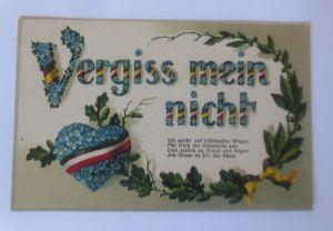 Sprüche, Vergiss mein nicht, Herz, Blumen,  1913, Prägekarte ♥ (80095)