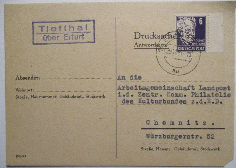 DDR, Landpoststempel Tiefthal über Erfurt 1951 (41444)
