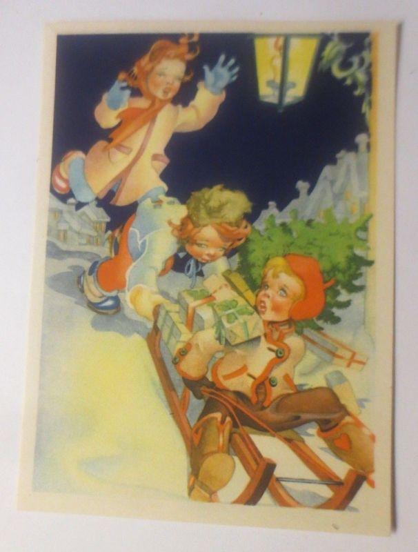 Weihnachten, Kinder, Schlitten, Geschenke, Rodeln,   1945 ♥ (80007)