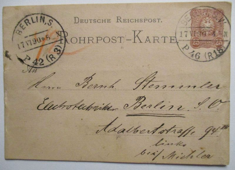 D.Reich, Rohrpost Ganzsache 1890 (7733)