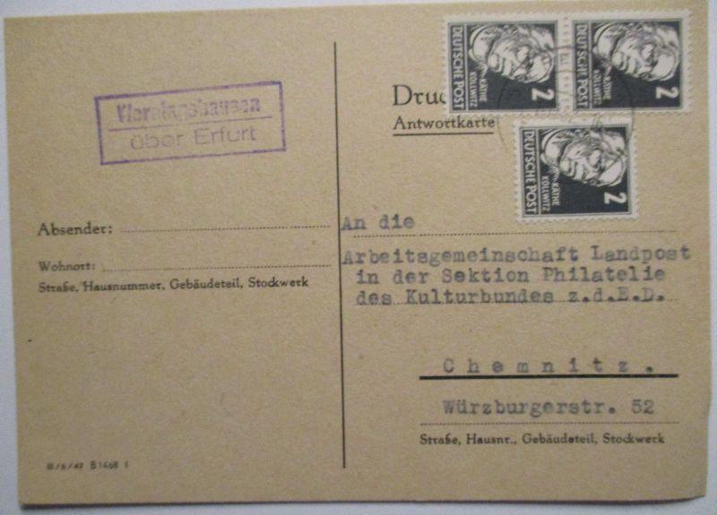 DDR, Landpoststempel Werningshausen über Erfurt 1952 (46658)