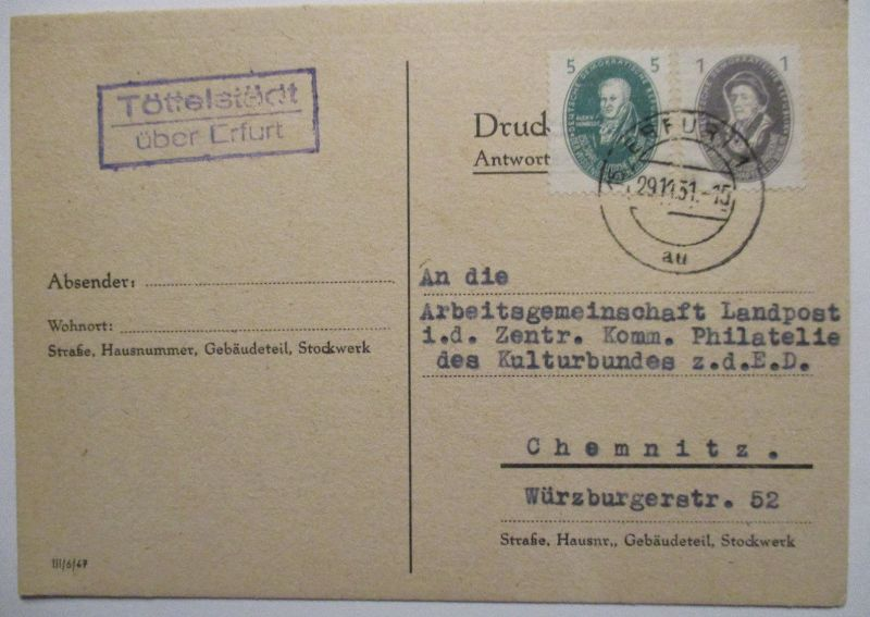 DDR, Landpoststempel Töttelstädt über Erfurt 1951 (39126)