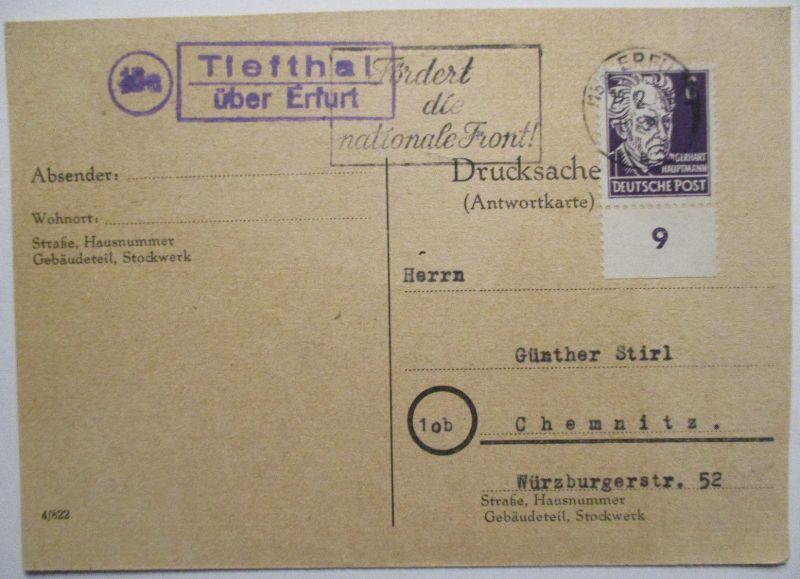 DDR, Landpoststempel Tiefthal über Erfurt 1950 (32380)