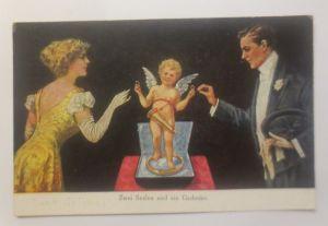 Künstlerkarte,  Zwei Seelen und  ein Gedanke, Frauen, Männer, Amor,1908 ♥ (70777