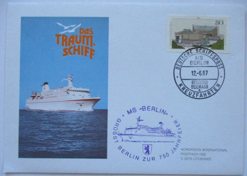 Traumschiff MS Berlin, Reederei Deilmann, Brief 1987 (19760)