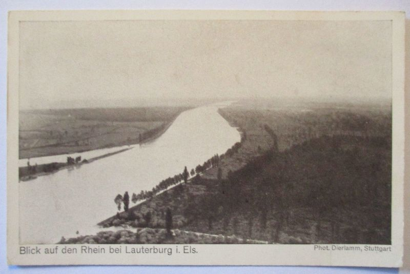 Zeppelin Delag Bordpostkarte, Rhein bei Lauterburg im Elsaß (46455)