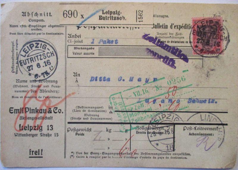 D.Reich, Auslands-Paketkarte 1916 von Leipzig in die Schweiz (57401)