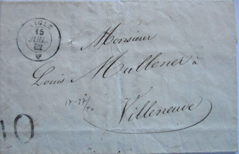 Schweiz, Vorphila 1852 aus Aigle nach Villeneuve (41281)