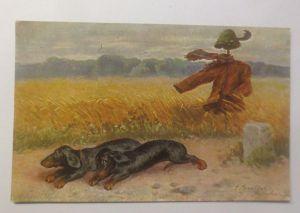 Künstlerkarte, Dackel, Landschaft, Meilenstein, 1912, S. Sperlich ♥ (70956)