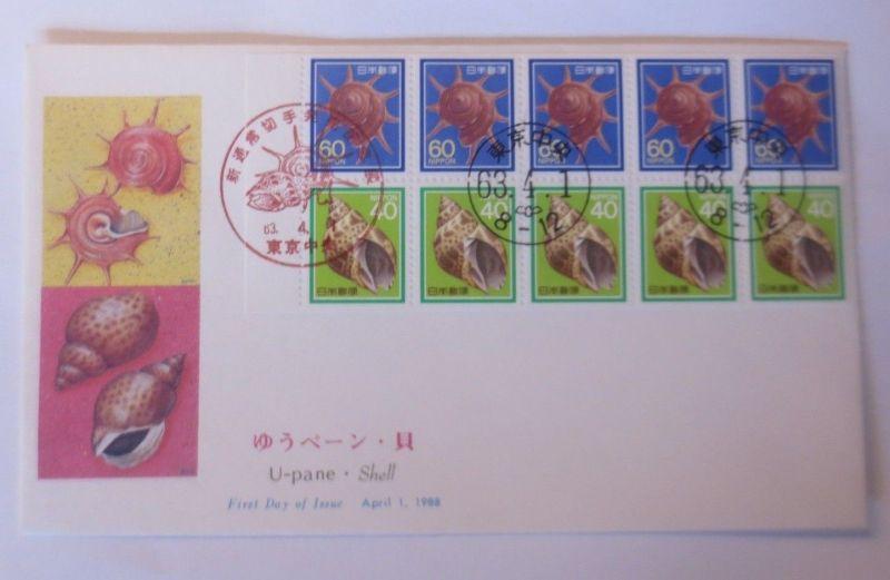 Japan Sonderbrief Heftchenblatt  Muscheln 1988 ♥ (62831)