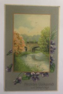 Geburtstag, Landschaft, Blumen,  1907, Prägekarte  ♥   (70724)