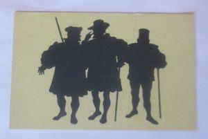 Scherenschnitt, Schattenriß-Karte, Die Bürger,  1953, Paul Konewka ♥ (70807)