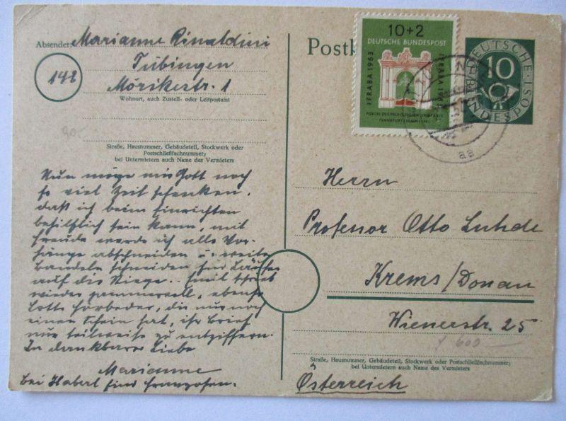 Bund, Posthorn Ganzsache mit Zusatz Ifraba nach Österreich (44740)
