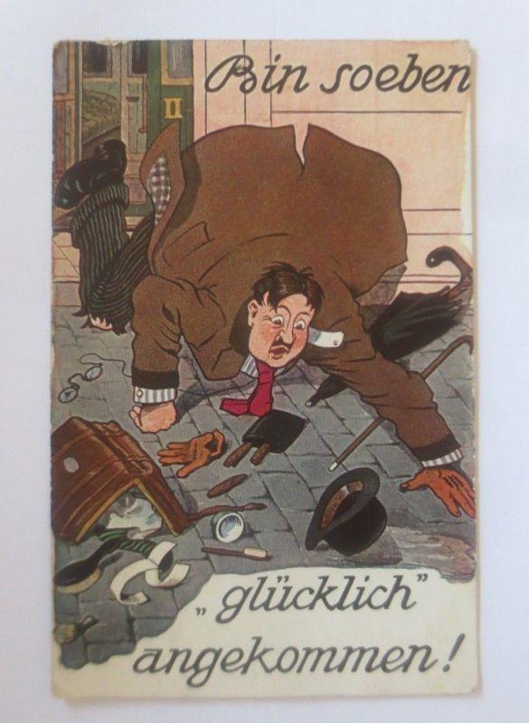 Scherzkarte, Bin so eben Glücklich angekommen,  1917 ♥ (80040)