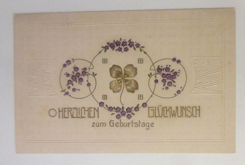 Geburtstag, Kleeblatt, Blumen, 1910, Prägekarte   ♥ (70708)