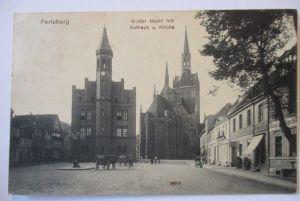Bahnpost Wittenberge Neustrelitz, AK Perleberg 1913 (64327)