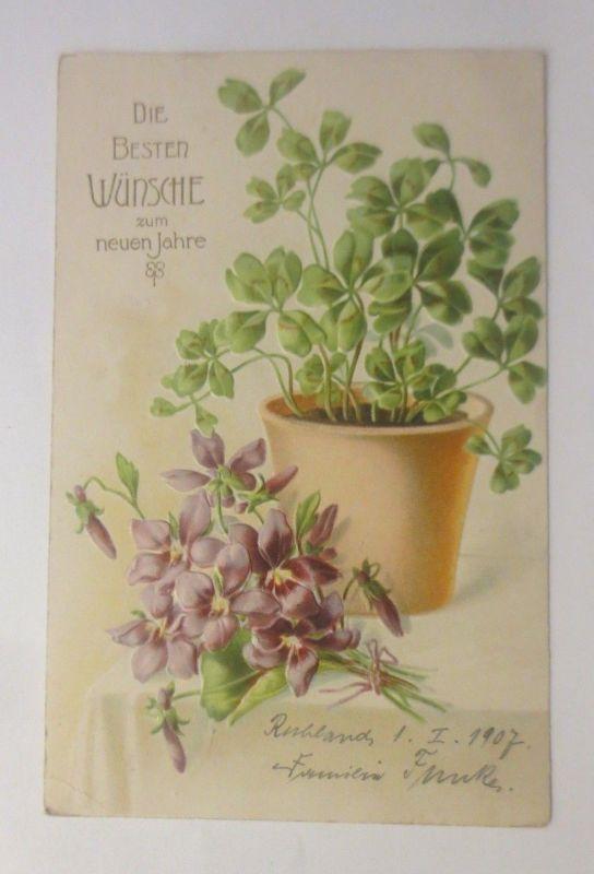 Neujahr, Blumen, Kleeblatt,  1907, Prägekarte   ♥ (70705)