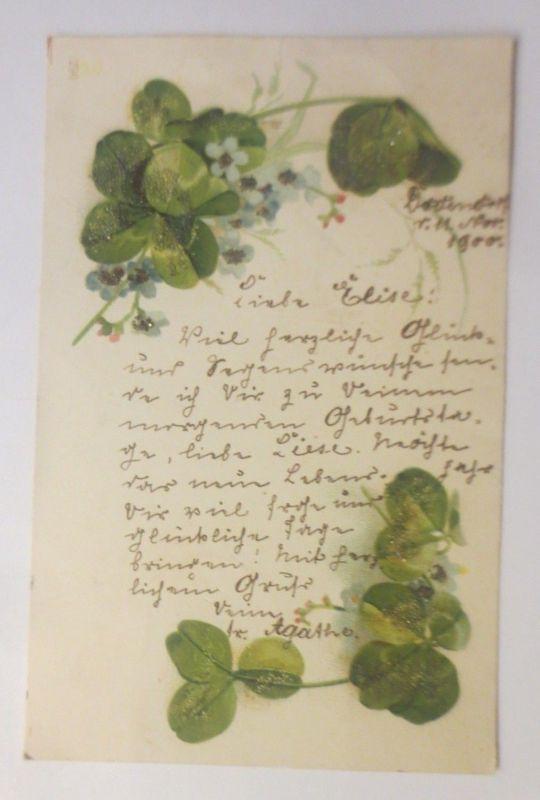 Blumen, Kleeblatt,  1899, Glitzersteinchen,  ♥ (70703)