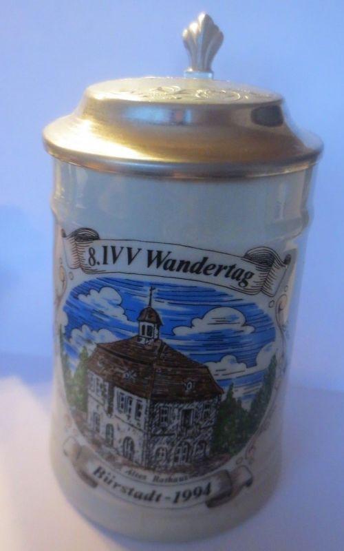 Bierkrug, 8.IVV Wandertag Bürstadt-1994 Altes Rathaus mit Zinndeckel  ♥