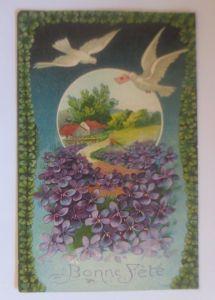 Geburtstag, Landschaft, Tauben, Brieftaube, Blumen, 1906, Prägekarte ♥ (80020)