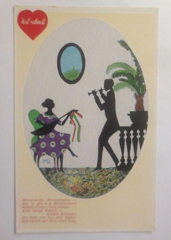 Künstlerkarte, Scherenschnitt, Silhouette, Winterabend,  1910    ♥ (70683)