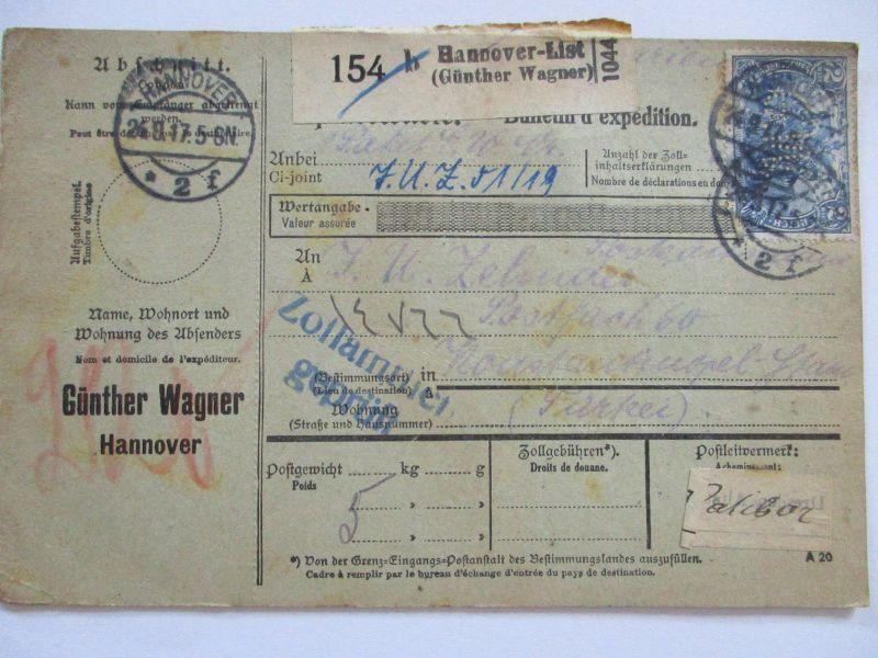 D.Reich, Auslandspaketkarte Perfins 1917 Hannover in die Türkei (20159)