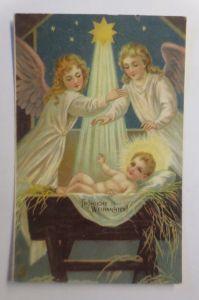 Weihnachten, Engel, Krippe, Jesus, Stern,  1909, Prägekarte ♥ (20109)