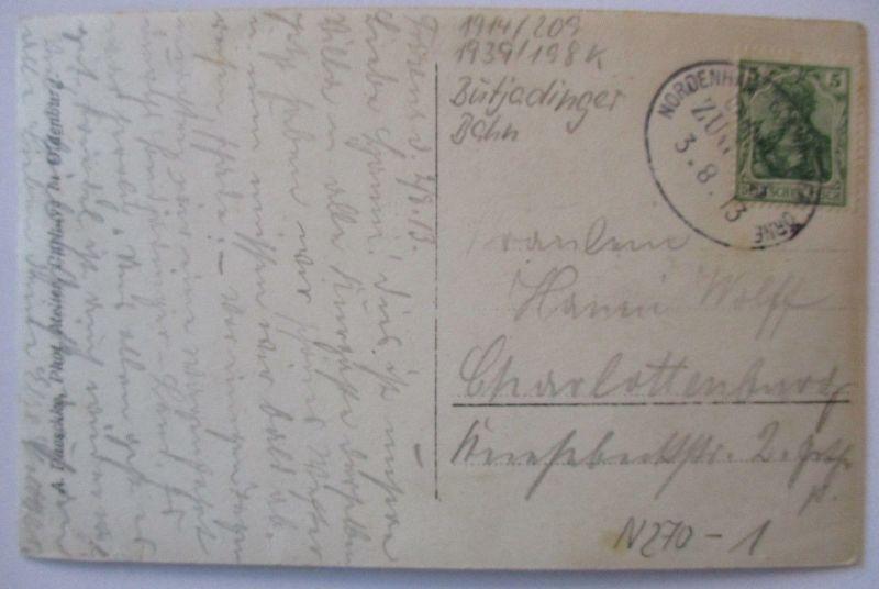 D.Reich, Bahnpost Nordenham Eckwarderhörne, Fotokarte 1913 (64332)