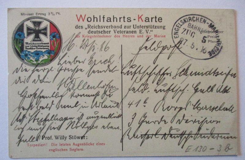 D.Reich Bahnpost Engelskirchen Marienheide Zug 5, Patriotik AK 1916 (41431)